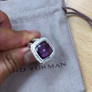 David Yurman 14mm Albion Amethyst Diamond Ring